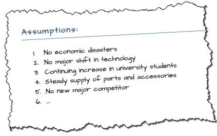 list of assumptions