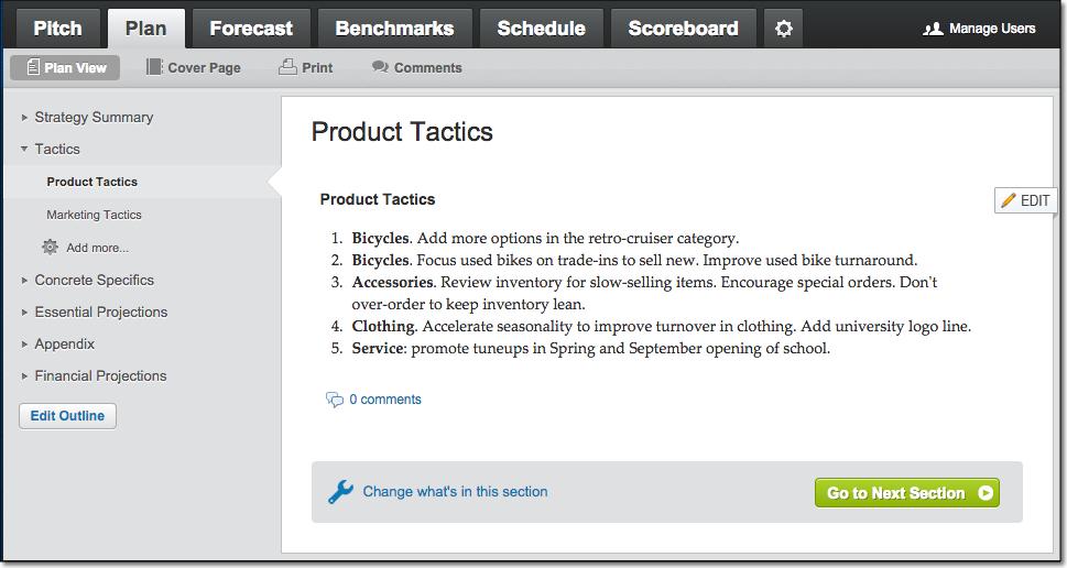 LivePlan Sample Product Tactics