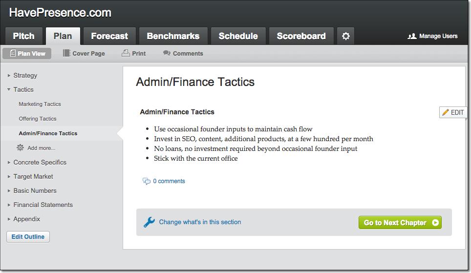 LivePlan Sample Admin Tactics