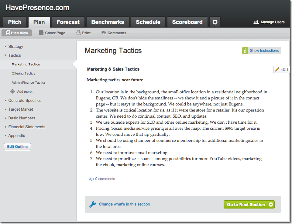 Sample tactics in liveplan lean business planning for Sales marketing tactics