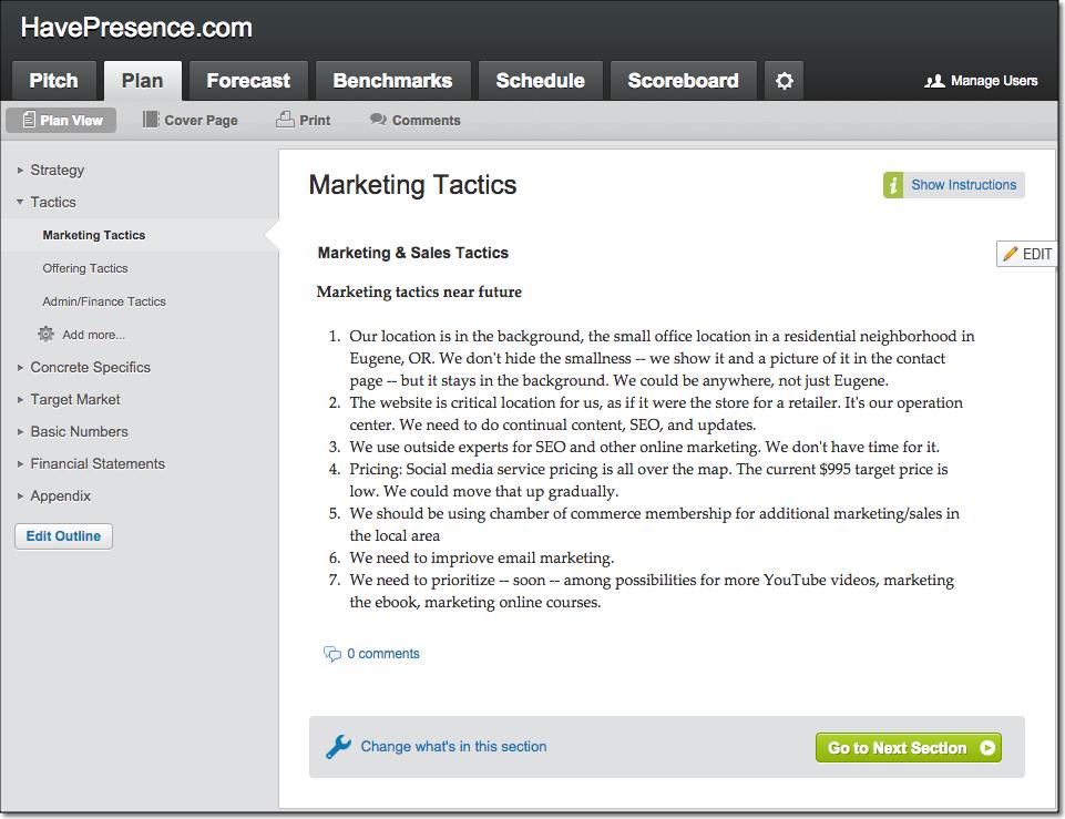 LivePlan Sample Marketing Tactics