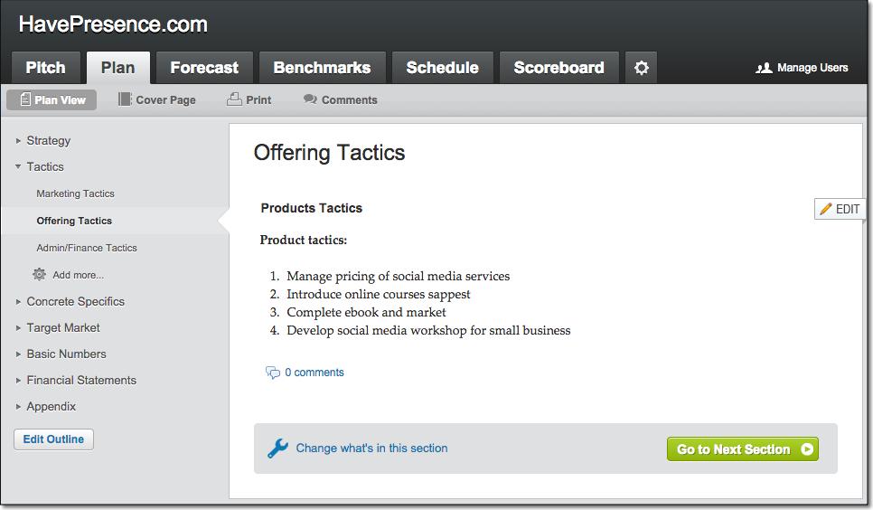 LivePlan Sample Offering Tactics