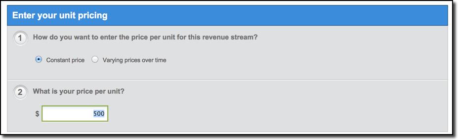 LivePlan Unit Price